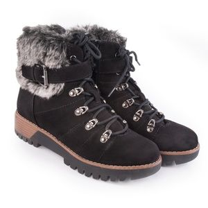 Merona 'Aaron' Black Faux Suede & Fur Topped Boots
